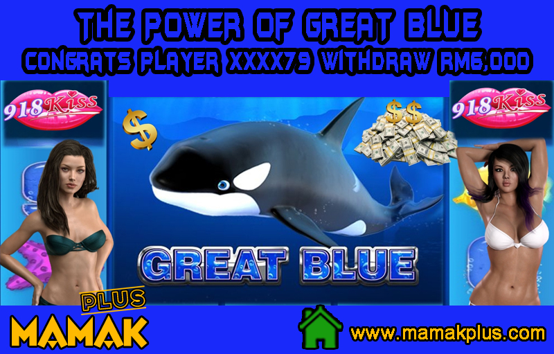 Congrats Player XXXX79 Withdraw RM6,000 from Great Blue Slot